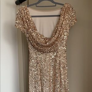 Gold Sequin Adrianna Papell Dress